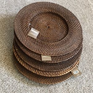 NWT Pier One  Set of 5 Rattan Chargers